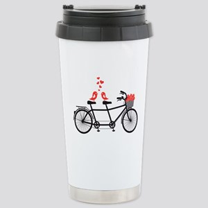 tandem bicycle with cute love birds Travel Mug