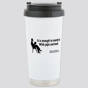With Pipe and Book Stainless Steel Travel Mug