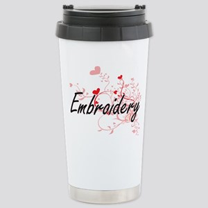 Embroidery Artistic Des Stainless Steel Travel Mug