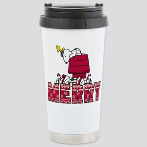 Snoopy Merry 16 oz Stainless Steel Travel Mug