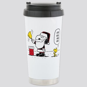 Santa Snoopy and Woodst Stainless Steel Travel Mug