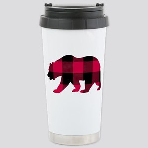 Buffalo Plaid Bear Stainless Steel Travel Mug