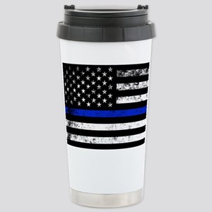 Horizontal style police flag Travel Mug