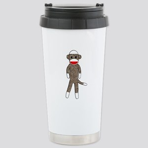 Sock Monkey Stainless Steel Travel Mug