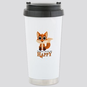 Foxes Make Me Happy Stainless Steel Travel Mug
