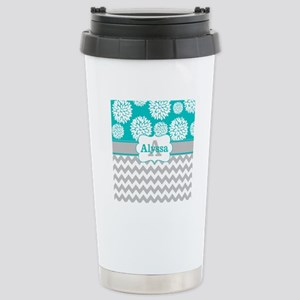 Gray Teal Chevron Blooms Personalized 16 oz Stainl