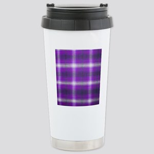 Purple Plaid Stainless Steel Travel Mug