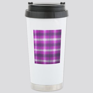 Girly, Pink Plaid, Stainless Steel Travel Mug
