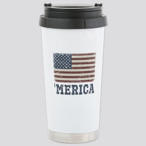 'Merica Flag Vintage Stainless Steel Travel Mug