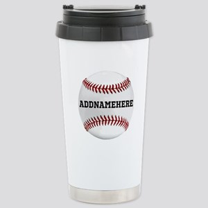 Personalized Baseball Red/White Stainless Steel Tr