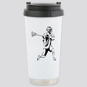 Lacrosse Player Action Stainless Steel Travel Mug