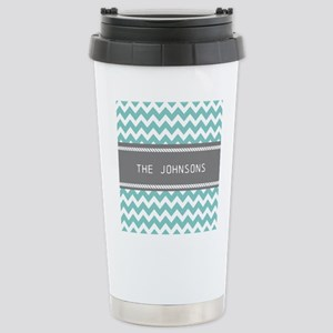 Teal Blue and Gray Mode Stainless Steel Travel Mug