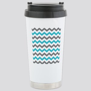 Teal and Gray Chevron Pattern Travel Mug