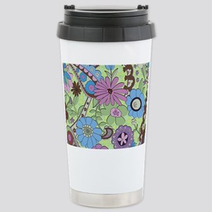 Colorful Retro Flowers Stainless Steel Travel Mug