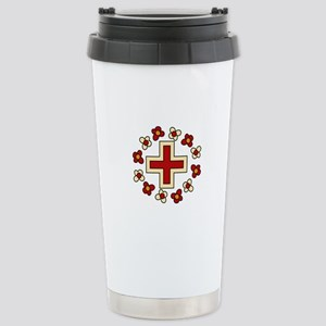 Floral Red Cross Travel Mug