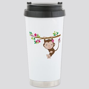 Swinging Baby Monkey Stainless Steel Travel Mug