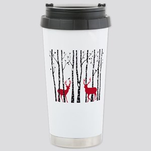 Christmas deers in birch tree forest Travel Mug