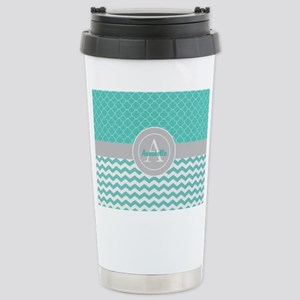Teal Gray Chevron Quatrefoil Mugs