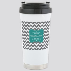 Gray and Teal Chevron M Stainless Steel Travel Mug