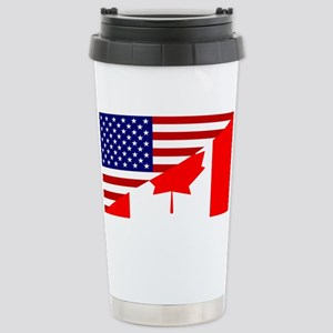 Canadian American Flag Stainless Steel Travel Mug