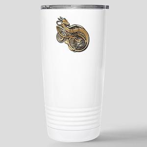 Gold Norse Dragon Stainless Steel Travel Mug