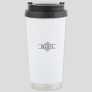 Believe Calligraphy Stainless Steel Travel Mug