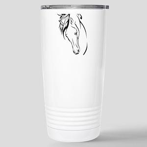 Line Drawn Horse Head Stainless Steel Travel Mug
