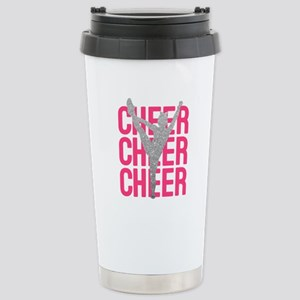 Pink Cheer Glitter Silh Stainless Steel Travel Mug