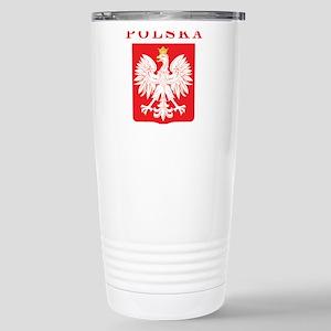 Polska Eagle Red Shield Stainless Steel Travel Mug