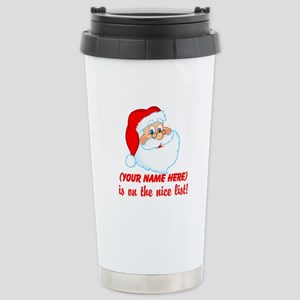 Personalized Nice List Stainless Steel Travel Mug