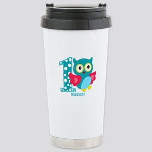 Cute First Birthday Owl Stainless Steel Travel Mug