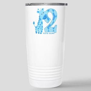 2nd Birthday Blue Giraffe Personalized Stainless S