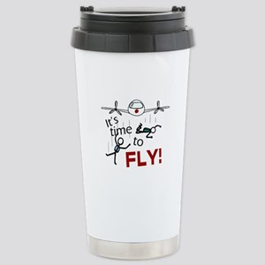'Time To Fly' Stainless Steel Travel Mug
