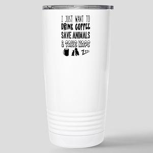 Coffee Animals Naps Stainless Steel Travel Mug