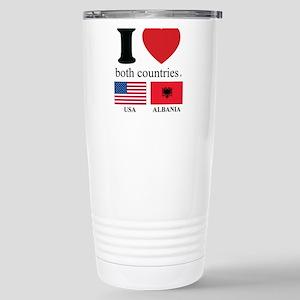 USA-ALBANIA Stainless Steel Travel Mug