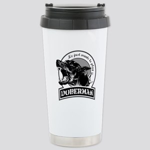 Doberman black/white Stainless Steel Travel Mug