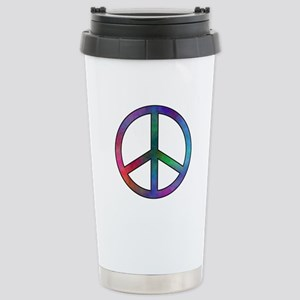 Multicolor Peace Sign Stainless Steel Travel Mug