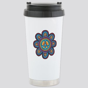 Hippie Peace Flower Stainless Steel Travel Mug