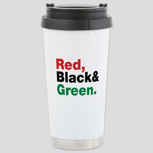 Red, Black and Green. Stainless Steel Travel Mug