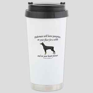 Doberman Pawprints Stainless Steel Travel Mug