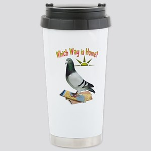 Which Way is Home? Fun Lost Pigeon Art Travel Mug