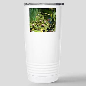 Koi Pond and Water Lili Stainless Steel Travel Mug