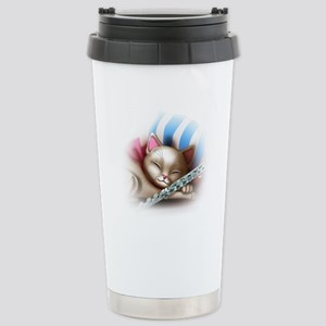 Napping Cat and Flute Stainless Steel Travel Mug
