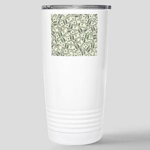 100 Dollar Bill Pattern Stainless Steel Travel Mug