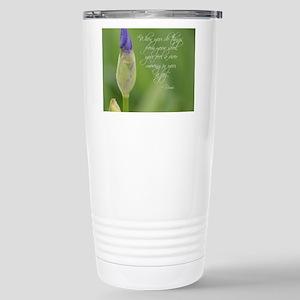 Iris with Rumi Quote Stainless Steel Travel Mug