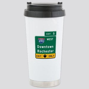 Rochester, NY Road Sign Stainless Steel Travel Mug