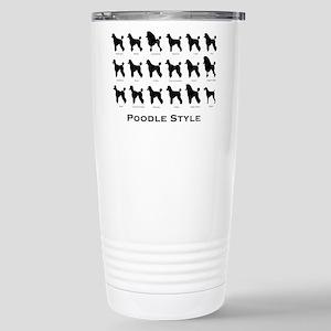 Poodle Styles: Black Stainless Steel Travel Mug