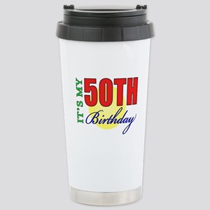 50th Birthday Party Stainless Steel Travel Mug