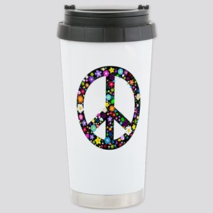 Hippie Flowery Peace Sign Stainless Steel Travel M