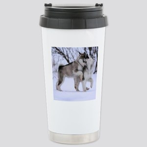 Wolves Playing Stainless Steel Travel Mug